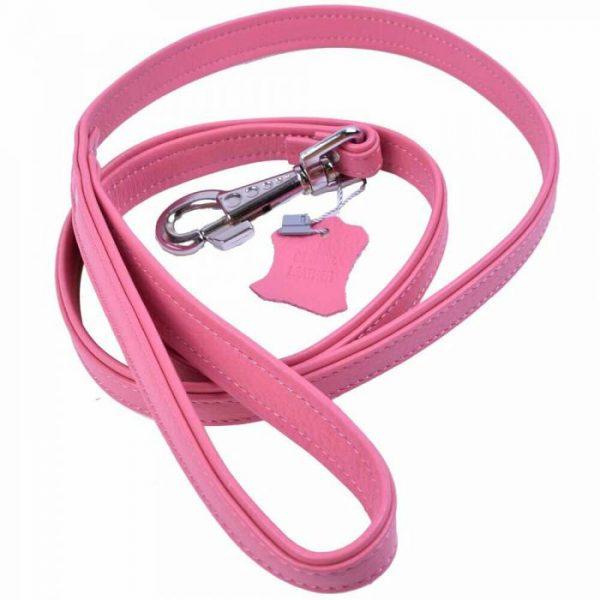 Povodec za pse – Floater usnje, roza barva 120cm