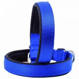 Ovratnica za pse – komfort tekstilna, modra barva 50cm