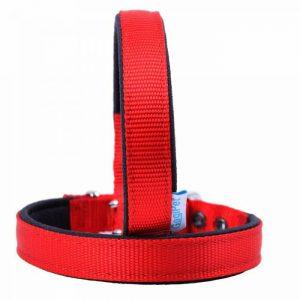 Ovratnica za pse – komfort tekstilna, rdeča barva 30cm