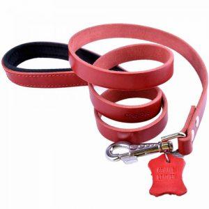 Povodec za pse – komfort usnje, rdeča barva 90cm