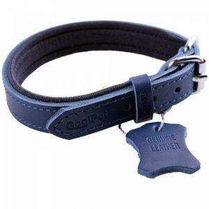 Ovratnica za pse – komfort usnjena, modra barva 55cm