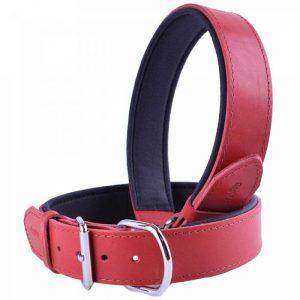 Ovratnica za pse – komfort usnjena, rdeča barva 55cm