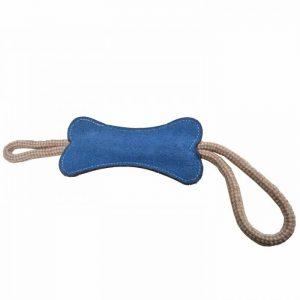 GogiPet® naravna igrača za pse – Kost modre barve, velikost 39cm