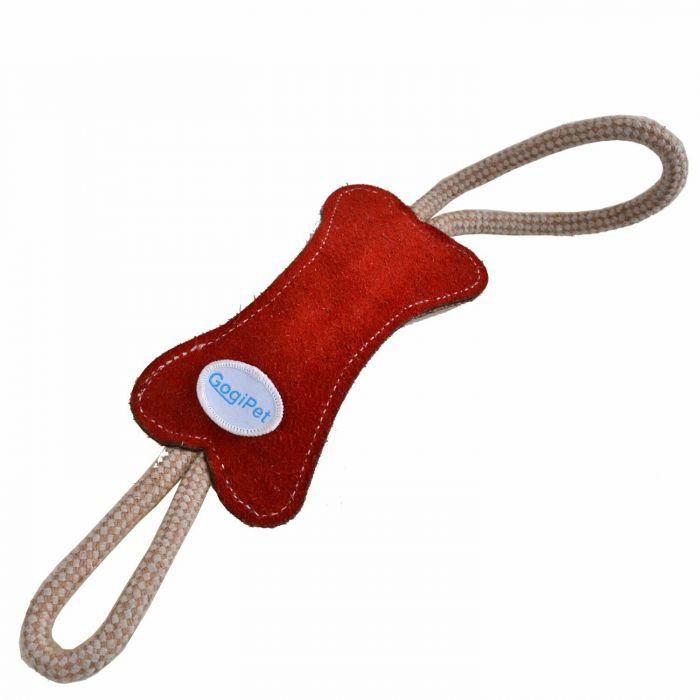 GogiPet® naravna igrača za pse – Kost rdeče barve, velikost 39cm