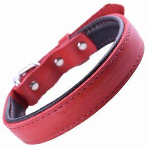Ovratnica za pse – mehko usnje. rdeča barva 35cm