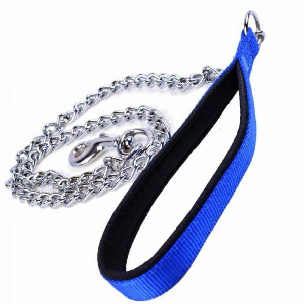 Povodec za pse – GogiPet® z verigo, modra barva 110cm