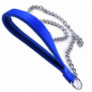 Povodec za pse – GogiPet® Polar z verigo, modra barva 110cm